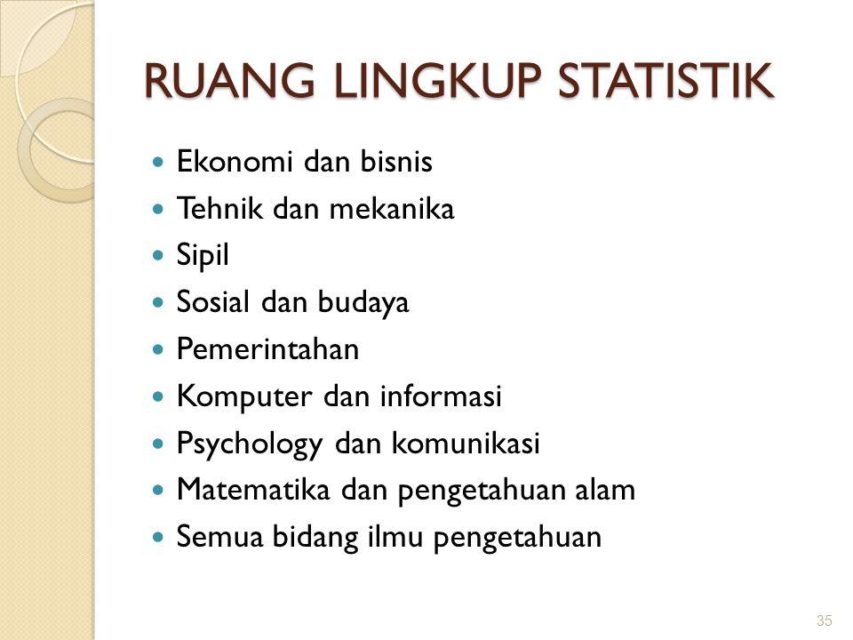 RUANG LINGKUP STATISTIK Ekonomi dan bisnis Tehnik dan mekanika Sipil Sosial dan budaya Pemerintahan Komputer dan informasi Psychology dan komunikasi M