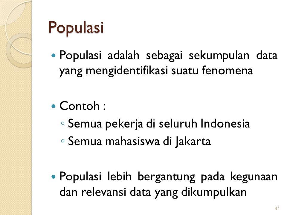 Populasi Populasi adalah sebagai sekumpulan data yang mengidentifikasi suatu fenomena Contoh : ◦ Semua pekerja di seluruh Indonesia ◦ Semua mahasiswa