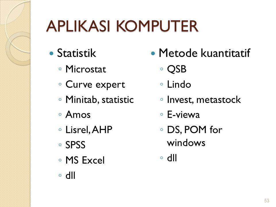 APLIKASI KOMPUTER Statistik ◦ Microstat ◦ Curve expert ◦ Minitab, statistic ◦ Amos ◦ Lisrel, AHP ◦ SPSS ◦ MS Excel ◦ dll 53 Metode kuantitatif ◦ QSB ◦