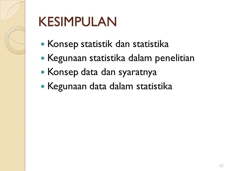 KESIMPULAN Konsep statistik dan statistika Kegunaan statistika dalam penelitian Konsep data dan syaratnya Kegunaan data dalam statistika 55