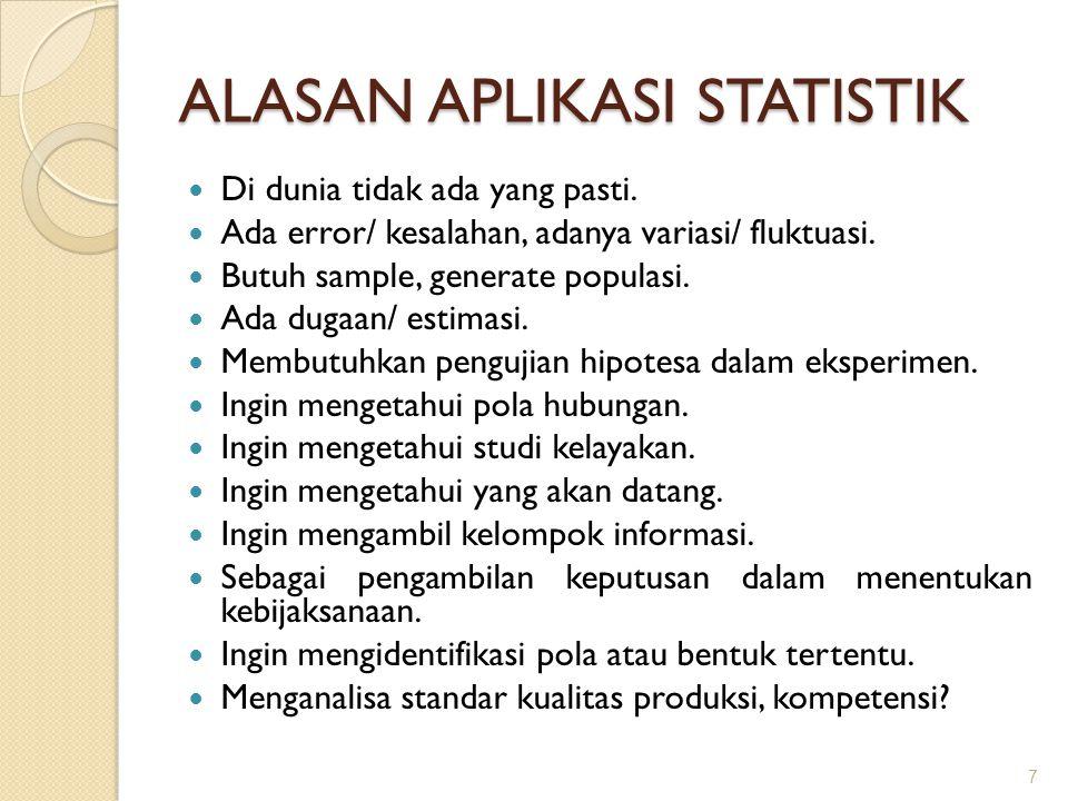 ALASAN APLIKASI STATISTIK Di dunia tidak ada yang pasti. Ada error/ kesalahan, adanya variasi/ fluktuasi. Butuh sample, generate populasi. Ada dugaan/