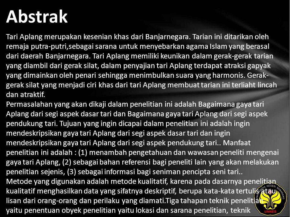Abstrak Tari Aplang merupakan kesenian khas dari Banjarnegara.