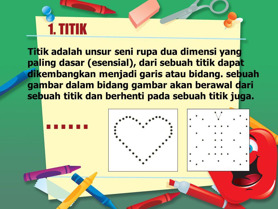 1. TITIK Titik adalah unsur seni rupa dua dimensi yang paling dasar (esensial), dari sebuah titik dapat dikembangkan menjadi garis atau bidang. sebuah