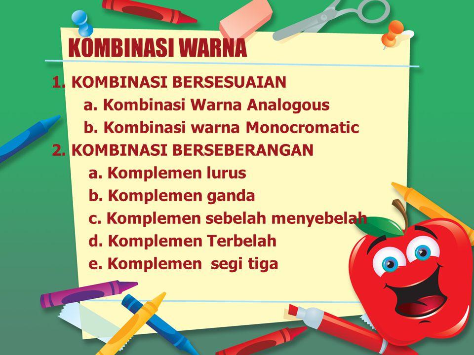 KOMBINASI WARNA 1.KOMBINASI BERSESUAIAN a. Kombinasi Warna Analogous b.