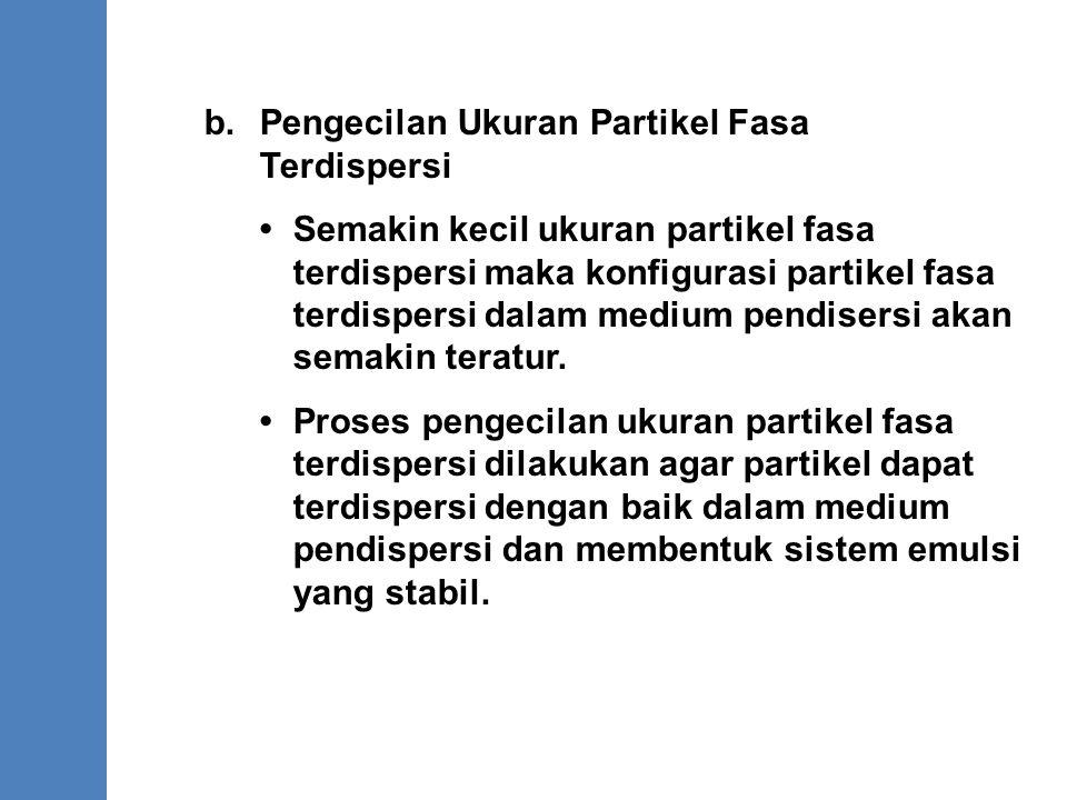 b.Pengecilan Ukuran Partikel Fasa Terdispersi Semakin kecil ukuran partikel fasa terdispersi maka konfigurasi partikel fasa terdispersi dalam medium p