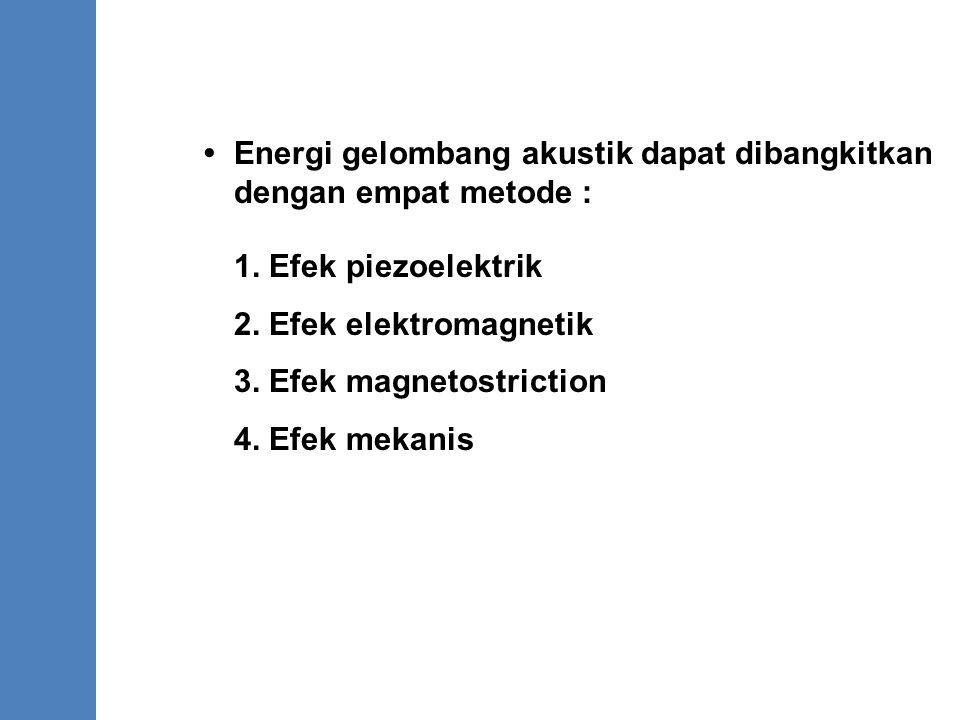 Energi gelombang akustik dapat dibangkitkan dengan empat metode : 1. Efek piezoelektrik 2. Efek elektromagnetik 3. Efek magnetostriction 4. Efek mekan