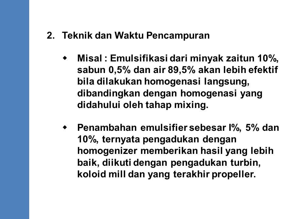 2.Teknik dan Waktu Pencampuran  Misal : Emulsifikasi dari minyak zaitun 10%, sabun 0,5% dan air 89,5% akan lebih efektif bila dilakukan homogenasi la