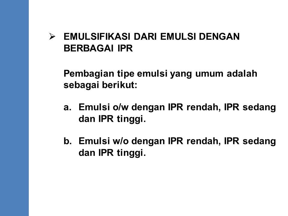  EMULSIFIKASI DARI EMULSI DENGAN BERBAGAI IPR Pembagian tipe emulsi yang umum adalah sebagai berikut: a. Emulsi o/w dengan IPR rendah, IPR sedang dan