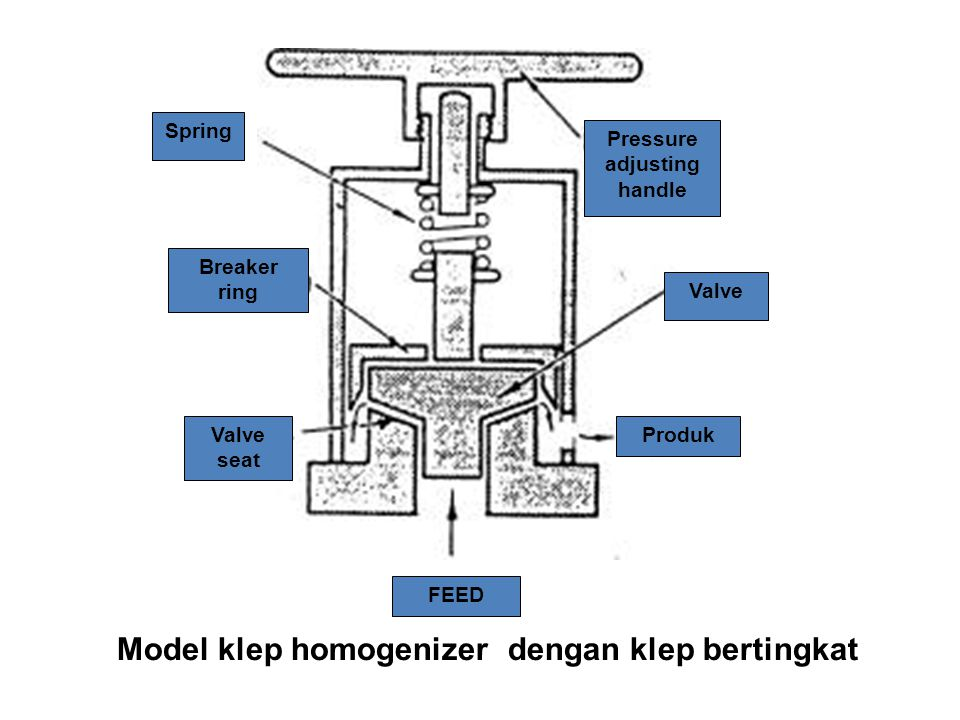 Model klep homogenizer dengan klep bertingkat FEED Produk Valve Pressure adjusting handle Spring Breaker ring Valve seat