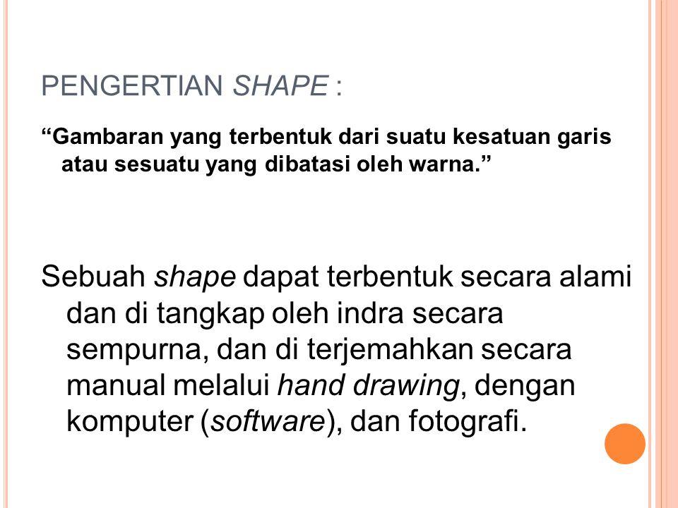"""PENGERTIAN SHAPE : """"Gambaran yang terbentuk dari suatu kesatuan garis atau sesuatu yang dibatasi oleh warna."""" Sebuah shape dapat terbentuk secara alam"""