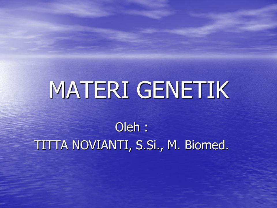 MATERI GENETIK Oleh : TITTA NOVIANTI, S.Si., M. Biomed.