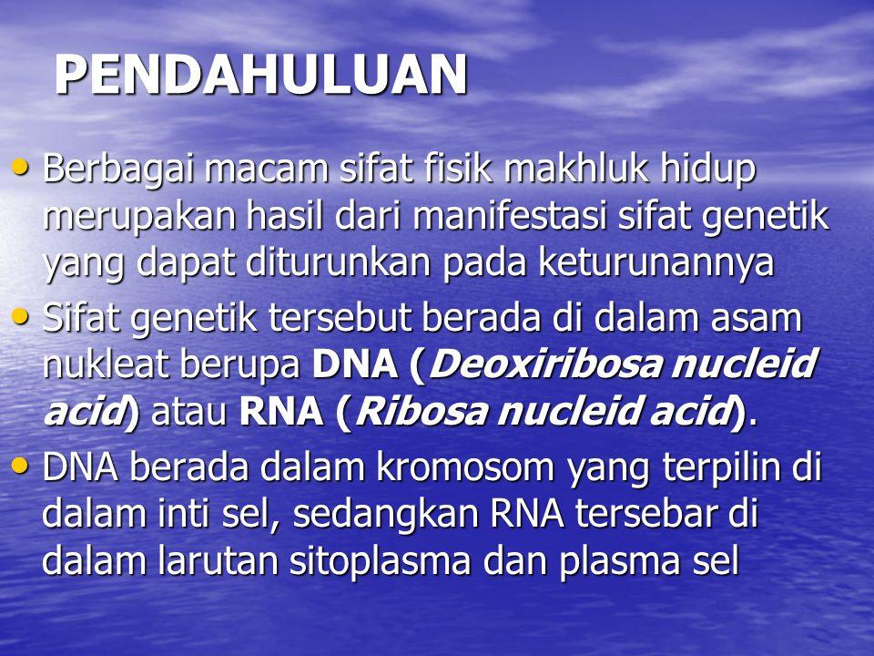 PENDAHULUAN Berbagai macam sifat fisik makhluk hidup merupakan hasil dari manifestasi sifat genetik yang dapat diturunkan pada keturunannya Berbagai m