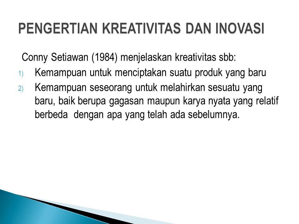 Conny Setiawan (1984) menjelaskan kreativitas sbb: 1) Kemampuan untuk menciptakan suatu produk yang baru 2) Kemampuan seseorang untuk melahirkan sesua