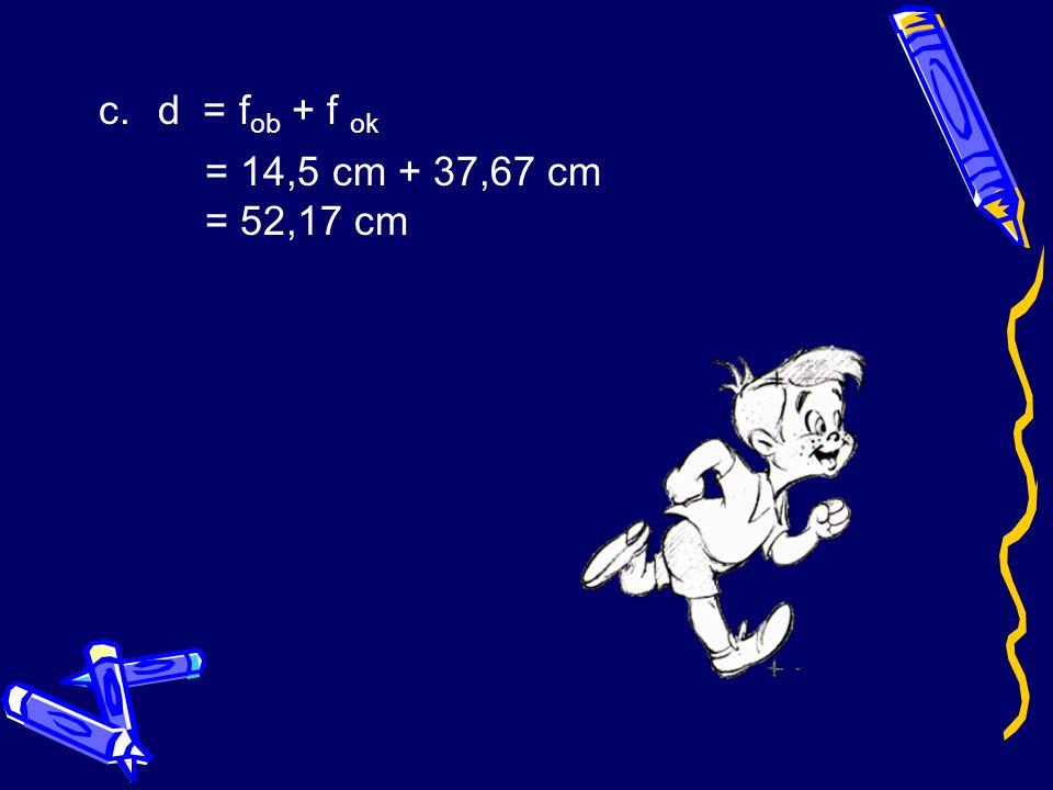 Penyelesaian : a.1 = 1 + 1 f s s' 1 + 1 96 62 31 + 48 2976 79 2976 f ob = 2976 79 = 37,67 cm b.1 = 1 + 1 f s s' = 1 + 1 33 26 = 26 + 33 858 = 59 858 f