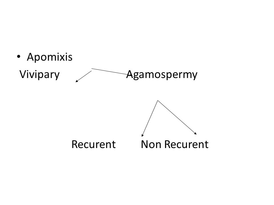 Apomixis ViviparyAgamospermy Recurent Non Recurent
