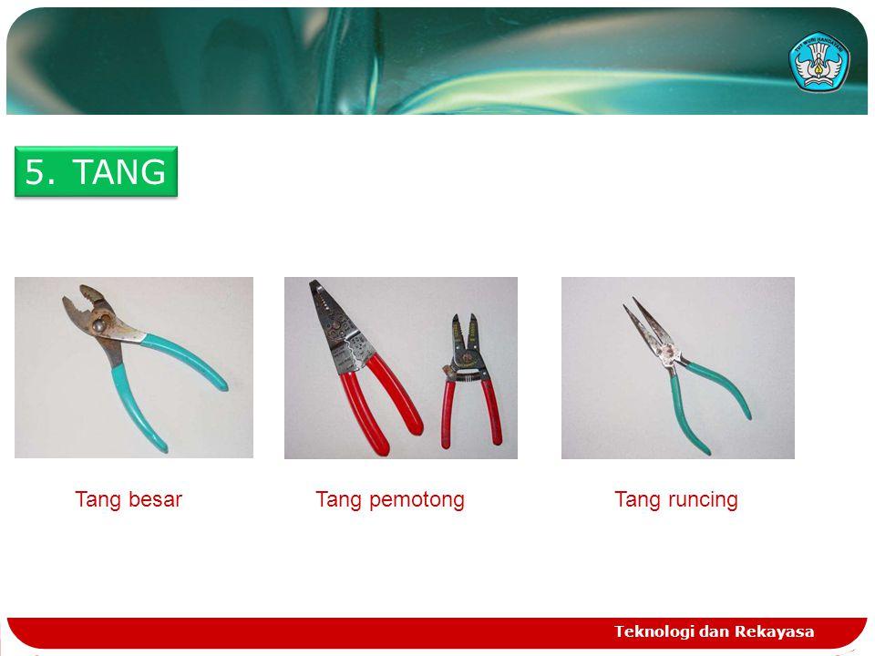 Teknologi dan Rekayasa 5.TANG Tang besarTang pemotongTang runcing