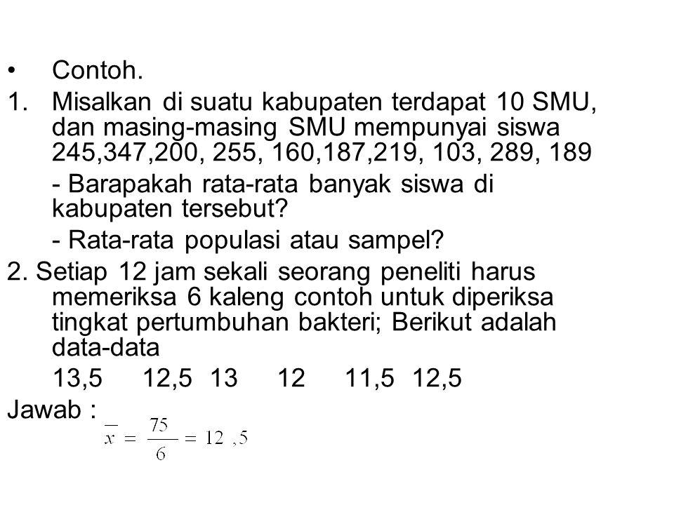 Contoh. 1.Misalkan di suatu kabupaten terdapat 10 SMU, dan masing-masing SMU mempunyai siswa 245,347,200, 255, 160,187,219, 103, 289, 189 - Barapakah