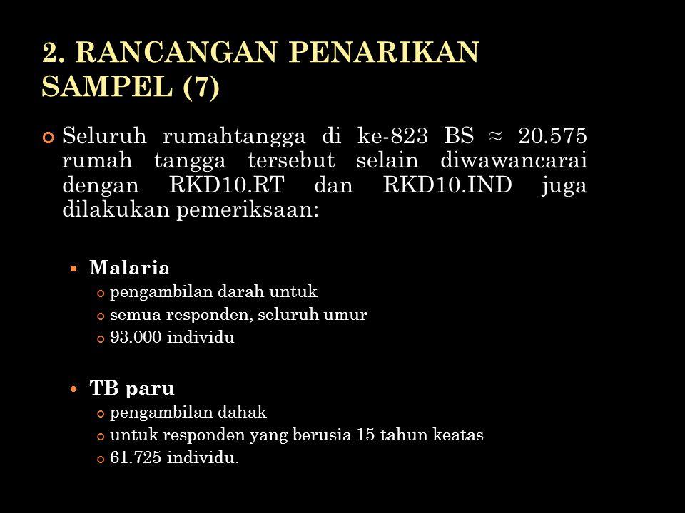 2. RANCANGAN PENARIKAN SAMPEL (7) Seluruh rumahtangga di ke-823 BS ≈ 20.575 rumah tangga tersebut selain diwawancarai dengan RKD10.RT dan RKD10.IND ju
