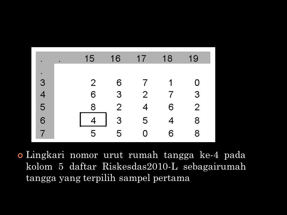 Lingkari nomor urut rumah tangga ke-4 pada kolom 5 daftar Riskesdas2010-L sebagairumah tangga yang terpilih sampel pertama