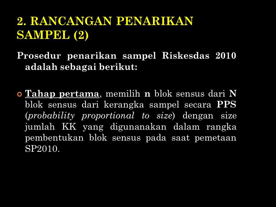 2. RANCANGAN PENARIKAN SAMPEL (2) Prosedur penarikan sampel Riskesdas 2010 adalah sebagai berikut: Tahap pertama, memilih n blok sensus dari N blok se