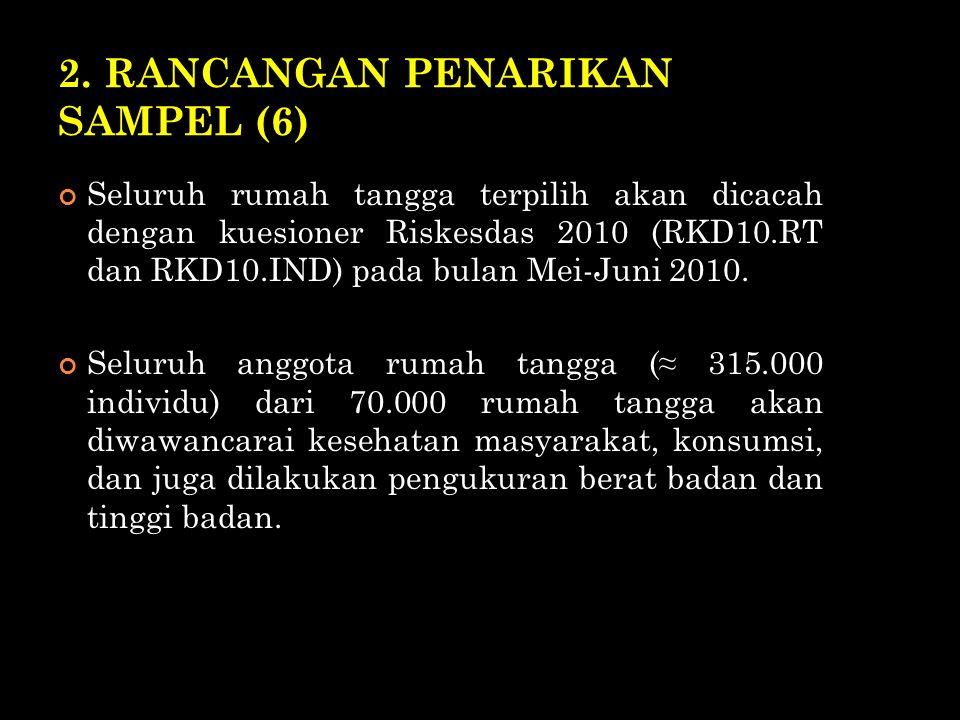 2. RANCANGAN PENARIKAN SAMPEL (6) Seluruh rumah tangga terpilih akan dicacah dengan kuesioner Riskesdas 2010 (RKD10.RT dan RKD10.IND) pada bulan Mei-J
