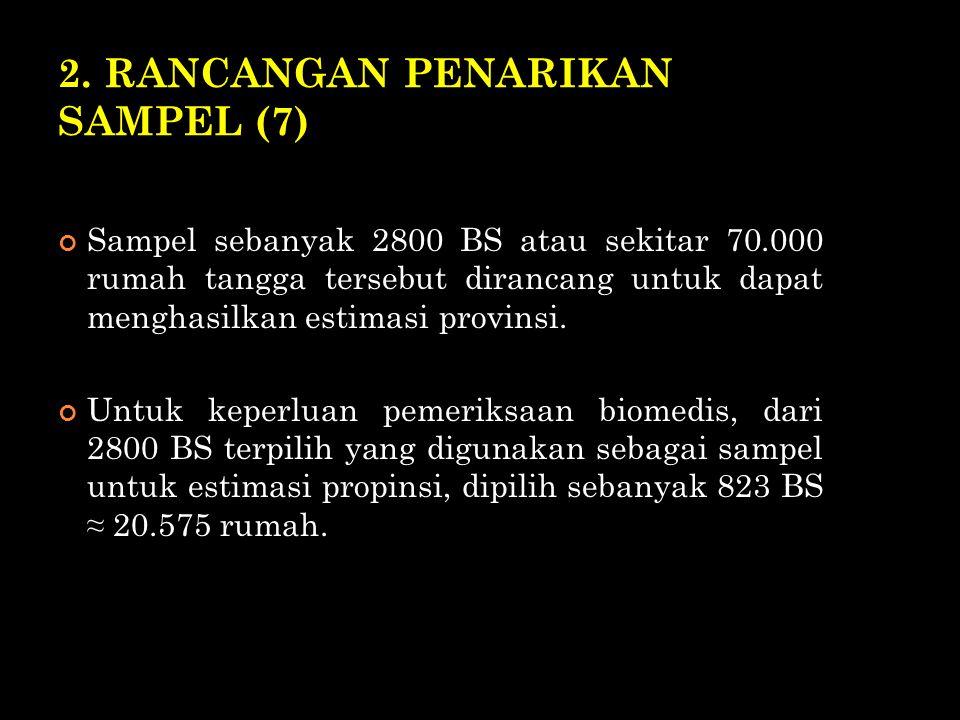 2. RANCANGAN PENARIKAN SAMPEL (7) Sampel sebanyak 2800 BS atau sekitar 70.000 rumah tangga tersebut dirancang untuk dapat menghasilkan estimasi provin