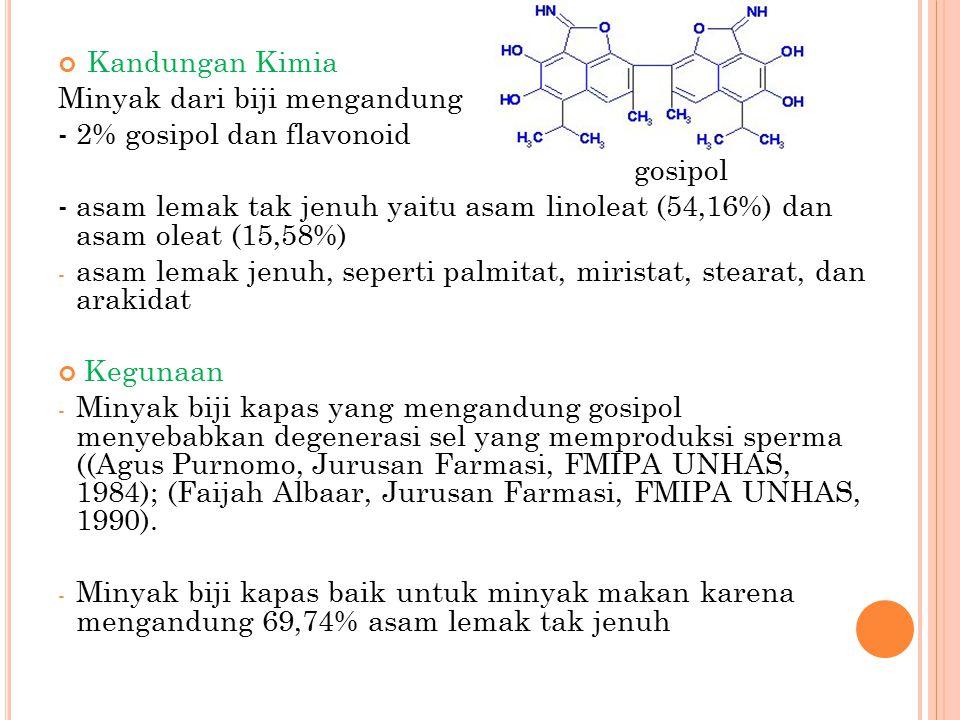 Kandungan Kimia Minyak dari biji mengandung - 2% gosipol dan flavonoid gosipol -asam lemak tak jenuh yaitu asam linoleat (54,16%) dan asam oleat (15,5