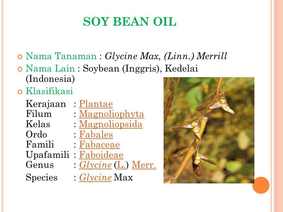 SOY BEAN OIL Nama Tanaman : G lycine Max, (Linn.) Merrill Nama Lain : Soybean (Inggris), Kedelai (Indonesia) Klasifikasi Kerajaan: Plantae Filum: Magn