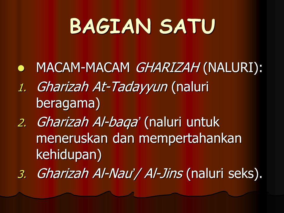 BAGIAN SATU MACAM-MACAM GHARIZAH (NALURI): MACAM-MACAM GHARIZAH (NALURI): 1.