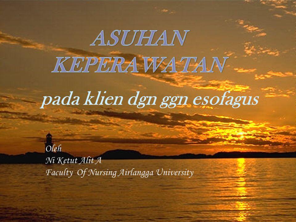 ASUHAN KEPERAWATAN pada klien dgn ggn esofagus Oleh Ni Ketut Alit A Faculty Of Nursing Airlangga University