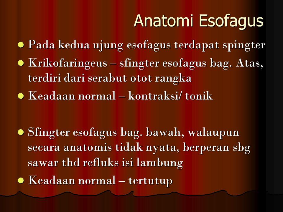 Anatomi Esofagus Anatomi Esofagus Pada kedua ujung esofagus terdapat spingter Pada kedua ujung esofagus terdapat spingter Krikofaringeus – sfingter es