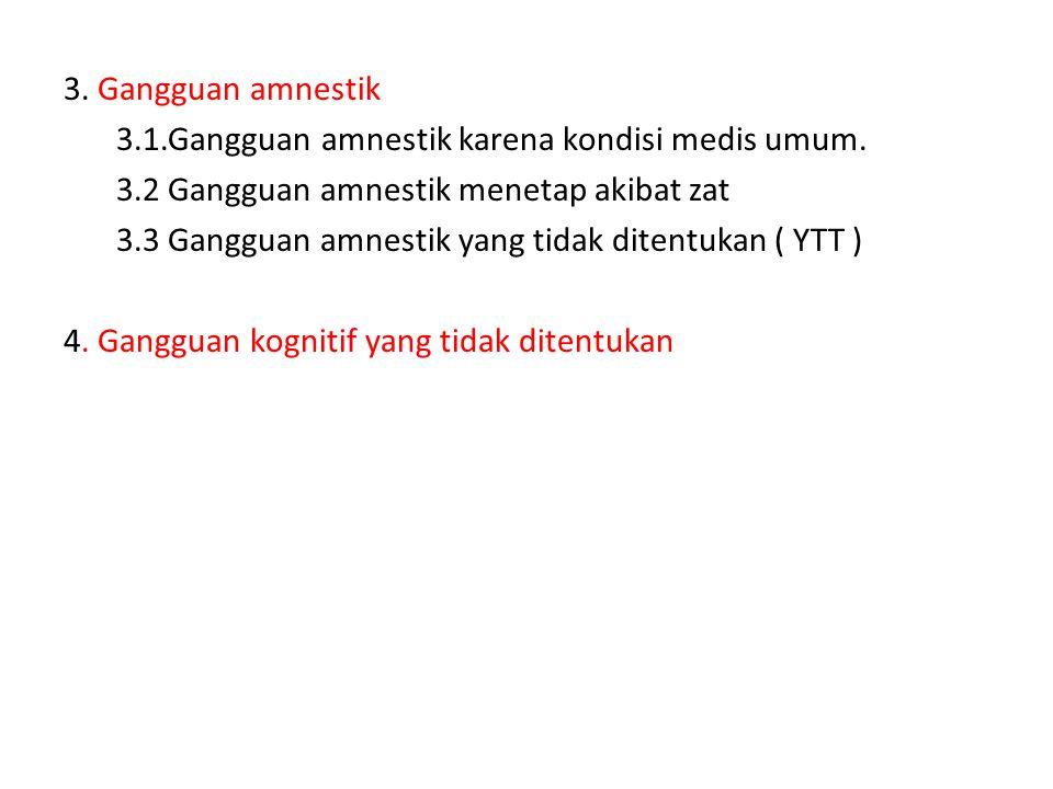 3.Gangguan amnestik 3.1.Gangguan amnestik karena kondisi medis umum.