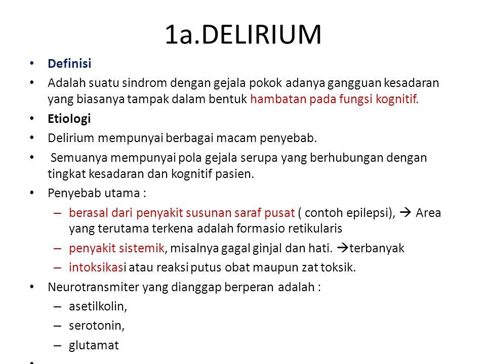 1a.DELIRIUM Definisi Adalah suatu sindrom dengan gejala pokok adanya gangguan kesadaran yang biasanya tampak dalam bentuk hambatan pada fungsi kognitif.