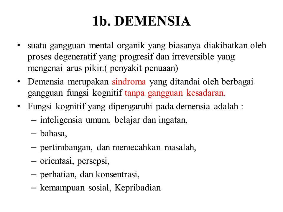 1b. DEMENSIA suatu gangguan mental organik yang biasanya diakibatkan oleh proses degeneratif yang progresif dan irreversible yang mengenai arus pikir.