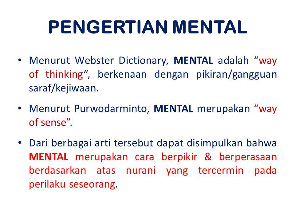 PENGERTIAN MENTAL Menurut Webster Dictionary, MENTAL adalah way of thinking , berkenaan dengan pikiran/gangguan saraf/kejiwaan.