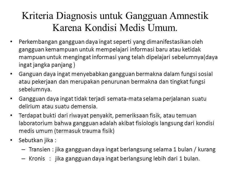Kriteria Diagnosis untuk Gangguan Amnestik Karena Kondisi Medis Umum.