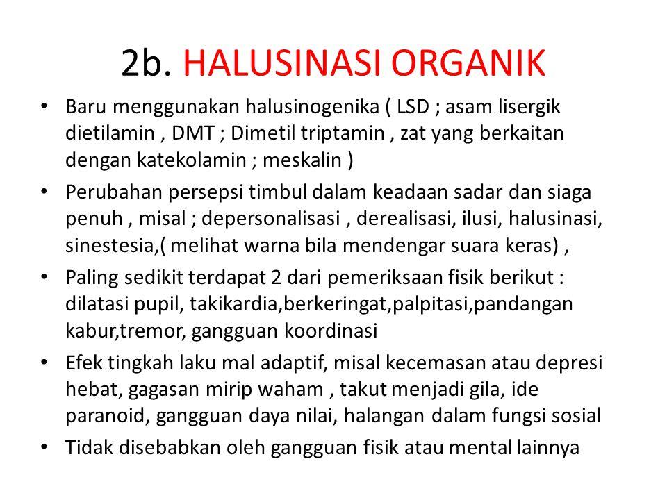 2b. HALUSINASI ORGANIK Baru menggunakan halusinogenika ( LSD ; asam lisergik dietilamin, DMT ; Dimetil triptamin, zat yang berkaitan dengan katekolami