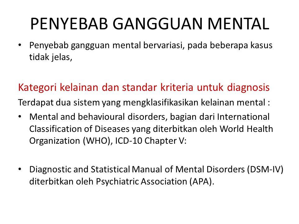 PENYEBAB GANGGUAN MENTAL Penyebab gangguan mental bervariasi, pada beberapa kasus tidak jelas, Kategori kelainan dan standar kriteria untuk diagnosis Terdapat dua sistem yang mengklasifikasikan kelainan mental : Mental and behavioural disorders, bagian dari International Classification of Diseases yang diterbitkan oleh World Health Organization (WHO), ICD-10 Chapter V: Diagnostic and Statistical Manual of Mental Disorders (DSM-IV) diterbitkan oleh Psychiatric Association (APA).