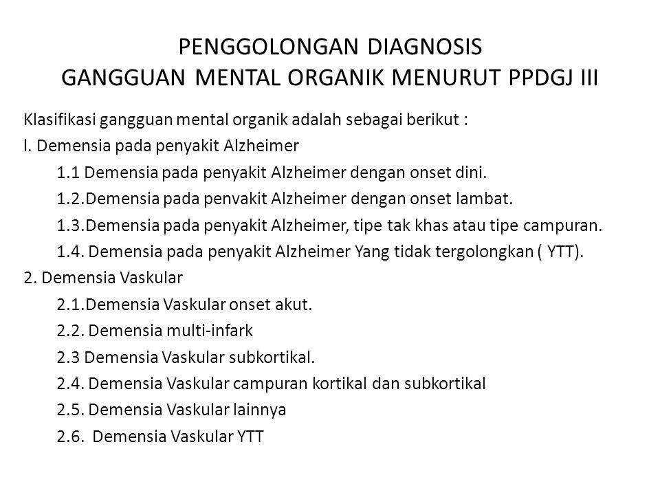 Pemeriksaan lengkap Dementia : Pemeriksaan fisik termasuk pemeriksaan neorologis lengkap Tanda vital Mini – mental state examination ( MMSE ) Pemeriksaan medikasi dan kadar obat Skrining darah dan urin untuk alkohol Pemeriksaan fisiologis Sinar-X dada Elektrokardiogram (EKG) Pemeriksaan neurologis CT atau MRI kepala Pungsi lumbal EEG Tes neuropsikologis