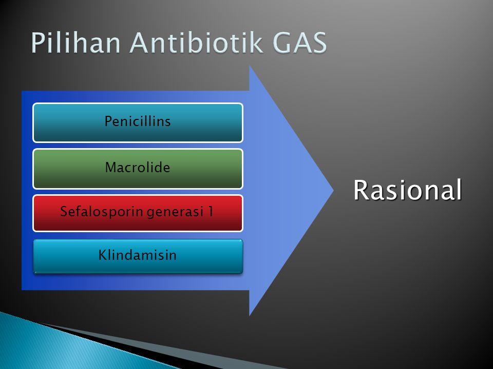 Penicillins Macrolide Sefalosporin generasi 1 Rasional Klindamisin