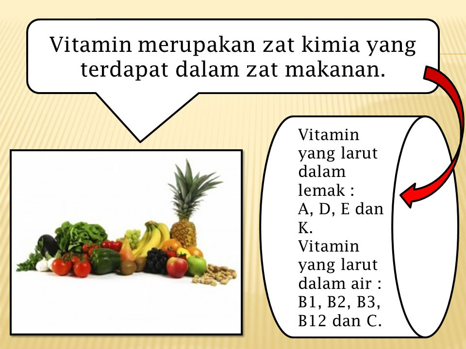 Vitamin merupakan zat kimia yang terdapat dalam zat makanan.