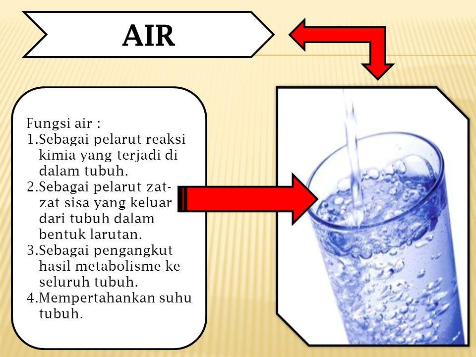 Fungsi air : 1.Sebagai pelarut reaksi kimia yang terjadi di dalam tubuh.