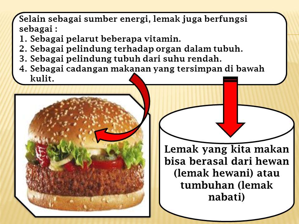 Selain sebagai sumber energi, lemak juga berfungsi sebagai : 1.Sebagai pelarut beberapa vitamin.
