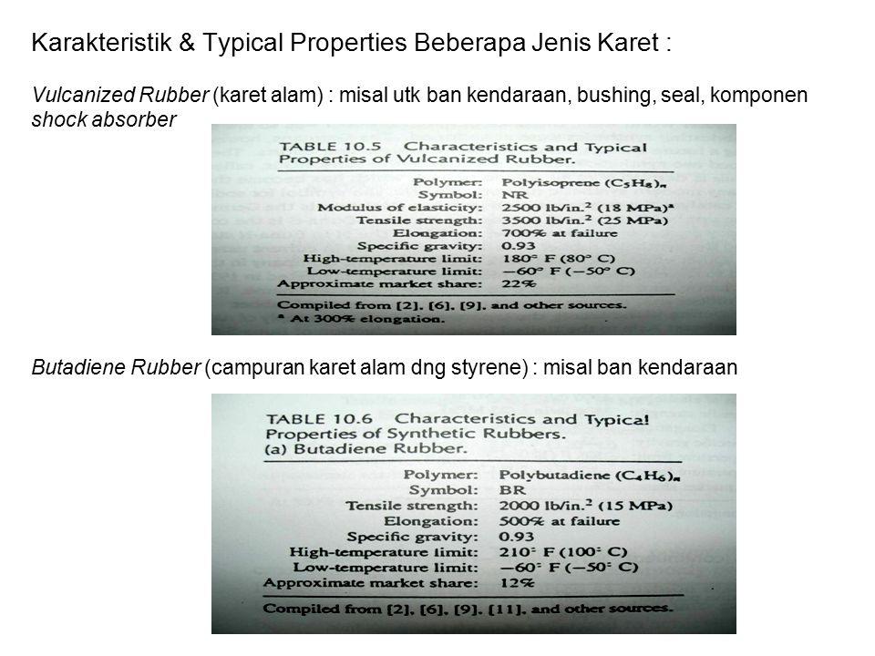Karakteristik & Typical Properties Beberapa Jenis Karet : Vulcanized Rubber (karet alam) : misal utk ban kendaraan, bushing, seal, komponen shock absorber Butadiene Rubber (campuran karet alam dng styrene) : misal ban kendaraan