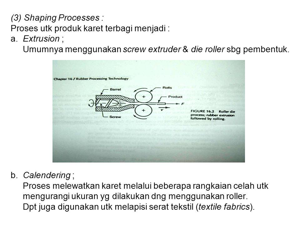 (3) Shaping Processes : Proses utk produk karet terbagi menjadi : a.