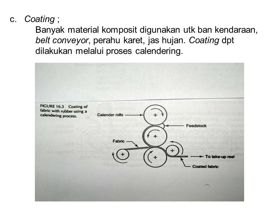 c. Coating ; Banyak material komposit digunakan utk ban kendaraan, belt conveyor, perahu karet, jas hujan. Coating dpt dilakukan melalui proses calend