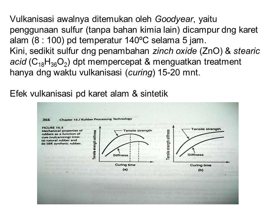 Vulkanisasi awalnya ditemukan oleh Goodyear, yaitu penggunaan sulfur (tanpa bahan kimia lain) dicampur dng karet alam (8 : 100) pd temperatur 140ºC selama 5 jam.