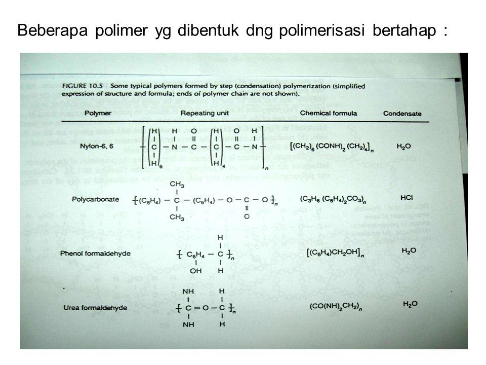 Beberapa polimer yg dibentuk dng polimerisasi bertahap :