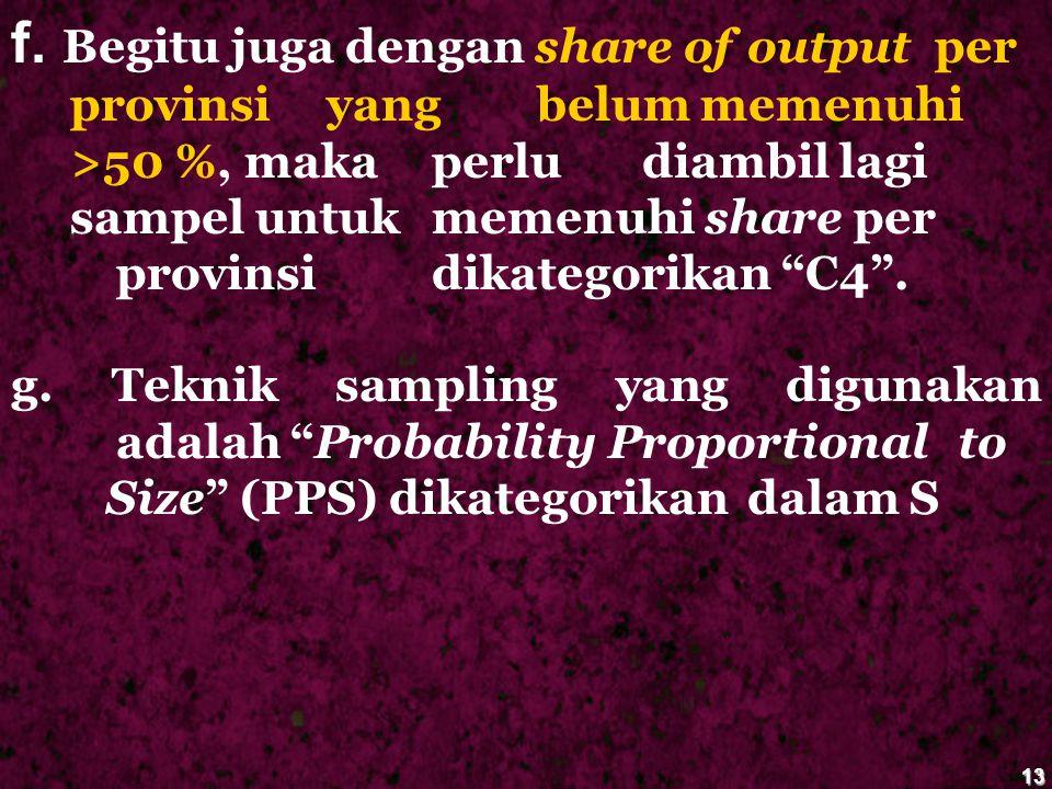 13 f. Begitu juga dengan share of output per provinsi yang belum memenuhi >50 %, maka perlu diambil lagi sampel untuk memenuhi share per provinsi dika