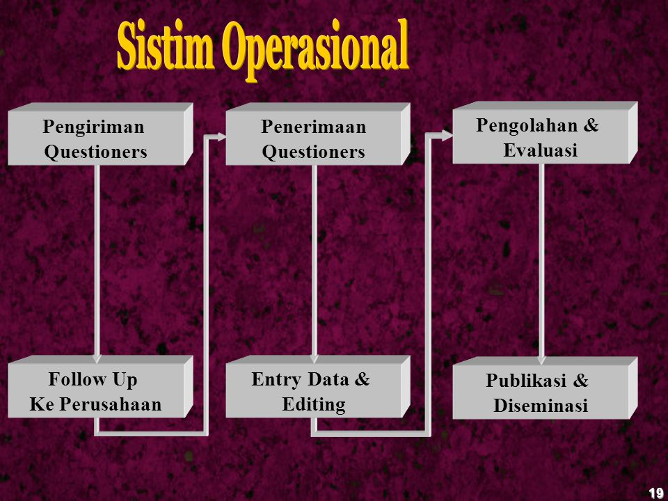 19 Follow Up Ke Perusahaan Entry Data & Editing Publikasi & Diseminasi Pengiriman Questioners Penerimaan Questioners Pengolahan & Evaluasi